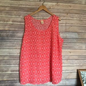 Faded Glory coral white printed sleeveless shirt